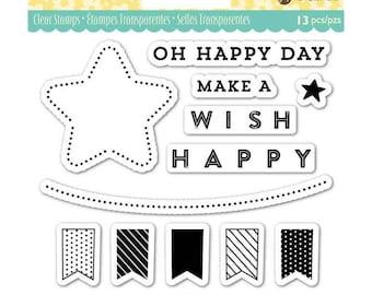 "Jillibean Soup OH HAPPY DAY clear silicone stamp set By Hampton Art 4"" x 4"" - JB0834 cc02 CS115"