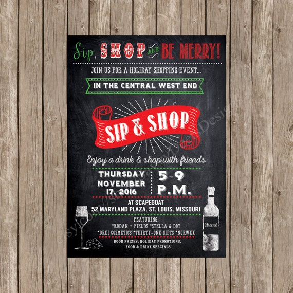 Holiday Sip n Shop Invitation Printable - Holiday Shopping Event - VIP Customer Shopping - Holiday Sip n Shop Event - Holiday Vendor Fair