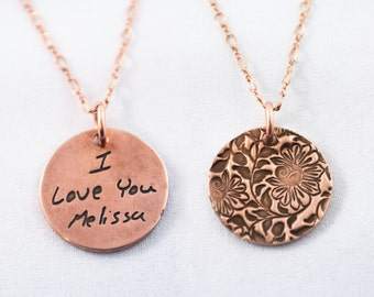 Memorial Jewelry Signature Necklace Your Loved One's Actual Writing or Signature on a Rose Bronze Pendant - Handwriting Jewelry