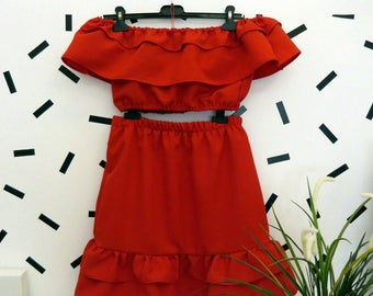 Handmade Red Coordinate Off the shoulder Top and Ruffle Skirt Unique Size