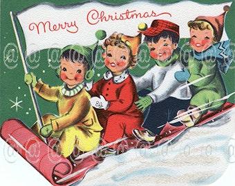 Digital download vintage Christmas card, kids on sled, 1950s, children, sledding, snow