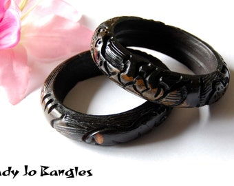 Vintage Carved African Tribal Ebony Bangles, with Rhino, Giraffe and Elephant, Ethnic
