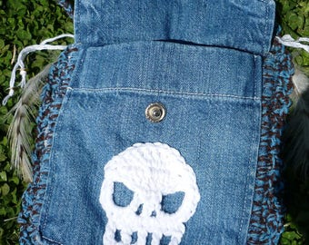 Crochet festival purse, festival purse, tribal american indian medicine bag, denim feather charm, Indian Medicine Bag, skull festival bag