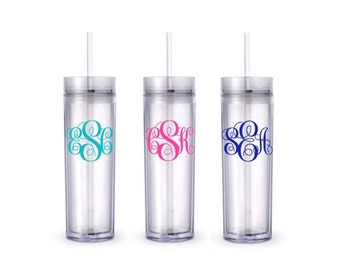 Personalized Plastic Tumbler with Lid and Straw Monogram - Personalized - Travel Mug