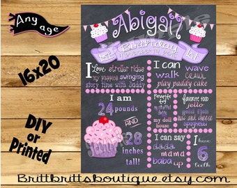 First Birthday Chalkboard sign girl 1st birthday cupcake chalk board photo prop customized first birthday poster digital file or printed