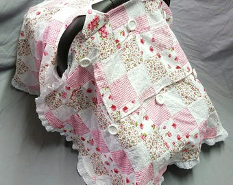 Lovely Pink Patchwork Eyelet Lace Car Seat Canopy