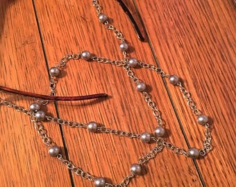 Eyeglasses Chain. Large Silver Glass Pearl Beads on Silver chain.