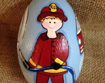 Fireman and firetruck egg