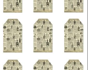Digital Printable - Vintage Old Newspaper Gift Tag Printable