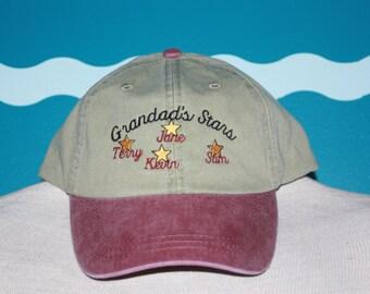 Grandad's stars baseball hat - embroidered grandad hat - embroidered baseball hat - custom grandparent stars baseball hat - custom hat