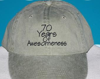 embroidered baseball cap - 70 years of awesomeness - 1947 birthday hat - custom year baseball cap - birth year vintage baseball