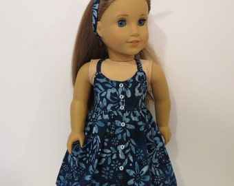 """18"""" Doll Clothes -Halter Dress in Blue Batik Print - Made to fit AG and similar 18 inch dolls"""
