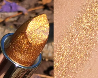 New! MIDAS TOUCH Gold Glitter Lipstick or Sample- Vegan friendly.