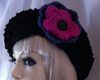 Black Pink beret hat retro french STYLE chenile crochet wool Hat Races Wedding winter flower hand made