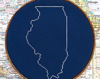 State of Illinois map, CROSS STITCH PATTERN
