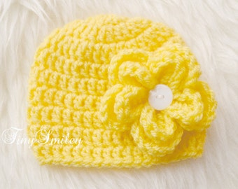 Yellow Baby Girl Hat, Newborn Baby Girl Hat, Yellow Newborn Girl Hat, Baby Girl Outfit, Newborn Hospital Girl Hat, Take Home Outfits