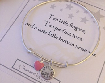 Sterling Silver Daughter & Pink Heart Charm Extendable Bangle for a Mum or Daughter