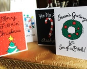 MIXED SET Funny Holiday Card Set by Spaghetti Toes, 8 Cards and Envelopes