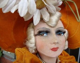 Antique French boudoir Doll / Poupée Boudoir Orange