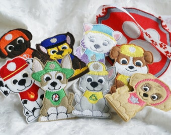 Embroidered Acrylic Felt Rescue Pups - Embroidered Set of Eight Pups Plus Carry Bag - Soft Finger Puppets for Toddlers, Birthday Gift