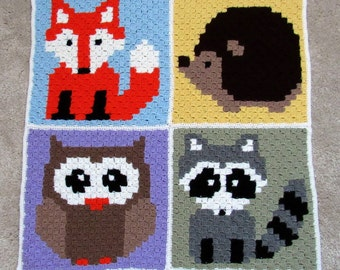 Crochet blanket C2C - Woodland animals