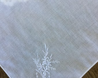 "White on white embroidered hankie, 10"" square"