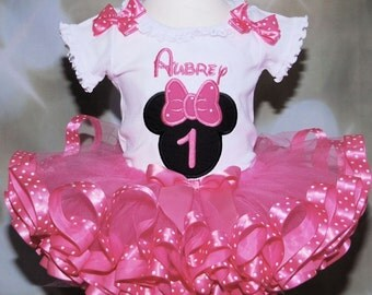 1st birthday girl outfit, minnie mouse birthday tutu set, cake smash tutu outfit, birthday outfit girl, baby birthday outfit, ribbon trim