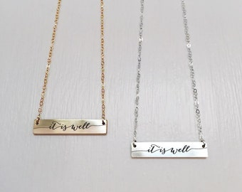 It is Well Necklace - faith jewelry - scripture jewelry - encouragement gift -