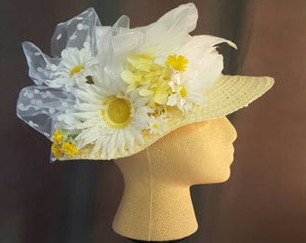Childrens Size Daisy Straw Sun Hat
