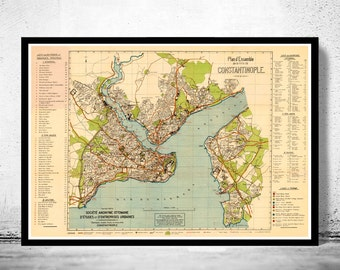 Old Map of Istanbul 1922 Constantinople Turkey