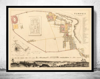 Old Map of Pompeii 1832 Antique Vintage Italy
