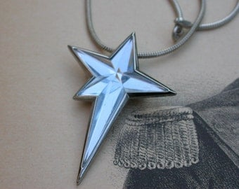 French vintage pendant light blue faceted star Signed Angel Thierry MUGLER Paris brooch light blue star Haute couture France