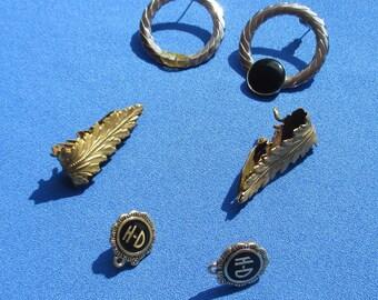Lot Of Vintage Earrings Missing Dangling Cabochons Repair Repurpose