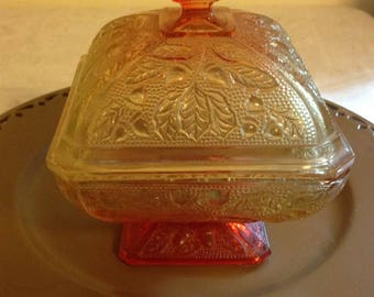 Vintage Amberina Orange/Red Carnival Glass Compote or Candy Dish