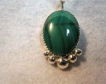 Malachite and Sterling Silver Pendant - Tom Nugent