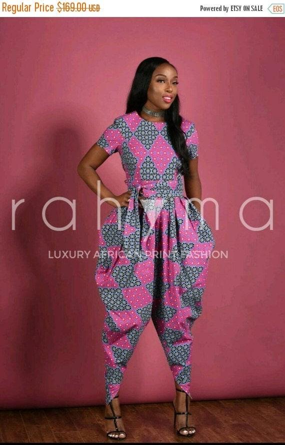 BLACK HISTORY SALE Pink Harem Jumpsuit- African print clothing