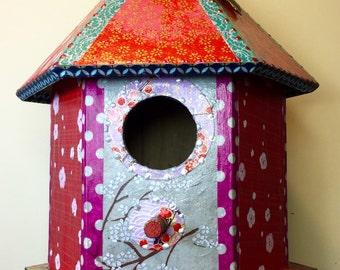 Ornamental Blue Washi Wooden Birdhouse