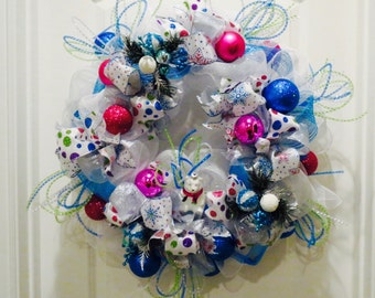 Whimsical Christmas Wreath, Christmas Wreath For Front Door, Pink Blue Wreath, Snow White,  Deco Mesh Wreath, Holiday Wreath, FREE SHIP