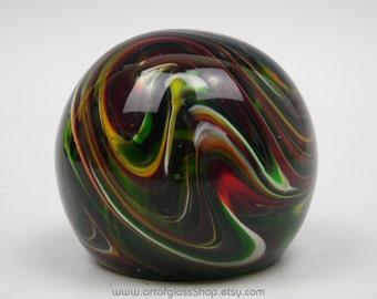 Red, Green & White swirly glass paperweight