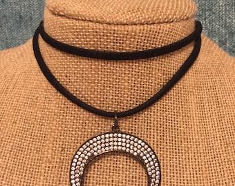 Crescent Pave Wrap Necklace