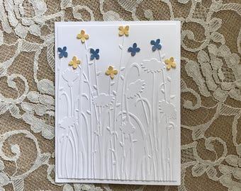 Handmade Greeting Card: Feminine birthday, field of flowers, blue and  yellow blossoms