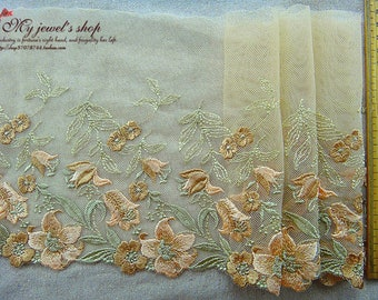 Embroidered Tulle Lace Trim Khaki Flowers Embroidered Lace Trim 7 Inches Wide 2 Yards Costume Supplies