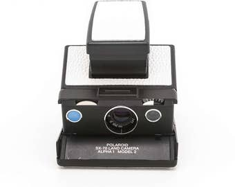 Polaroid SX-70 Land Camera Alpha1 Model 2 with New White Leather Covering - Film Tested and Guaranteed Working
