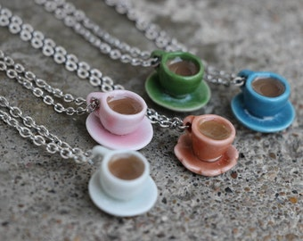 Filled tea/coffee cup and saucer necklace - your choice of color