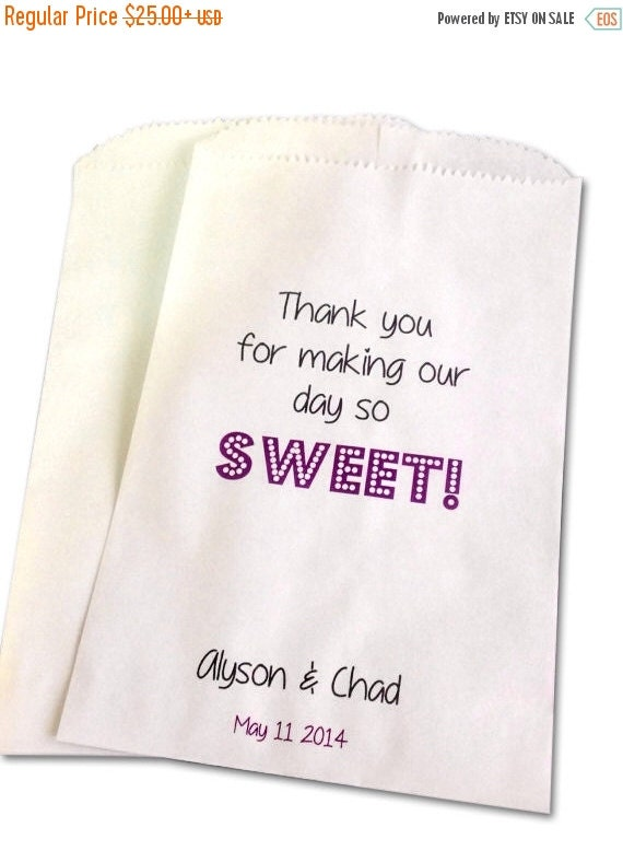 Wedding Gift Bags For Sale : SALE Personalized Wedding Favor Bags, Candy Buffet Bags, wedding favor ...