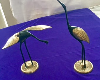One Pair of VINTAGE  BRASS CRANES - Made in Korea