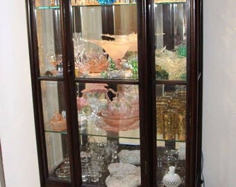 Antique Rare Queen Anne Display Curio China Cabinet Beveled Glass Mirror Back Insured safe Nation Wide Shipping Available