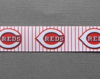 "Sale!!! CINCINNATI REDS Pin-Striped Grosgrain Craft Ribbon - 7/8"" - 3-Yard Length"