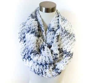 Chunky  Multi White and Gray Marble Infinity Scarf/ Cowl for Women