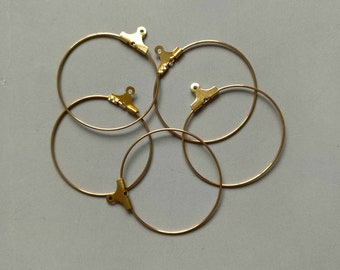100pcs Raw Brass Gold Hoops ,Earrings Findings 30mm - F257